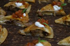 Smoked Pork Belly Quesadilla, Charred Poblano Peppers, Grilled Onions, Monterey Jack cheese, Smoked Tomato Salsa.