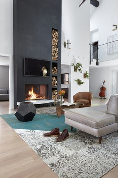 comfy living room decoration ideas with fireplace 2 « A Virtual Zone Tall Fireplace, Home Fireplace, Living Room With Fireplace, Fireplace Surrounds, Fireplace Design, Home Living Room, Living Room Grey, Living Room Decor, Black Brick Fireplace