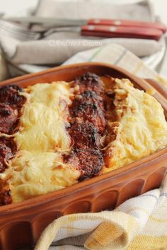 Potato Souffle with Sausages