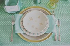 Inspired by This Mint and Lemon 1960's Mod Wedding Tablescape - Inspired By This