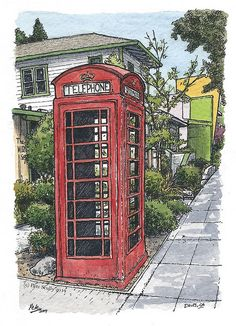 Urban Sketcher Peter Scully. Lovely red telephone box reminds me of childhood.