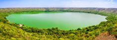 Lonar Crater, India. La edad del cráter es generalmente estimada en 52.000 ± 6.000 años. tiene un diámetro medio de 1,2 kilómetros