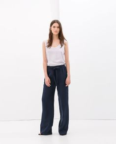 Image 1 of LINEN TROUSERS WITH ELASTIC WAIST from Zara