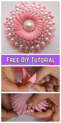 Silk Ribbon Embroidery Flowers Fabulous DIY Ribbon Flower with Beads Tutorial - Video - Kanzashi DIY Ribbon Flower with Beads Tutorial - Video: Kanzashi Ribbon flower, flower brooch, twisted ribbon flower Diy Ribbon Flowers, Ribbon Art, Ribbon Crafts, Flower Crafts, Fabric Flowers, Fabric Crafts, Ribbon Rose, Flower Diy, Diy Crafts