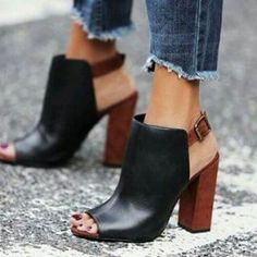 Glam Siyah-Taba Kalin Topuklu Ayakkabi