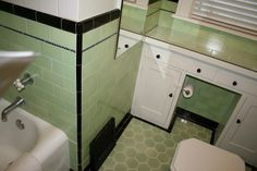 Lime green tile bathroom