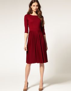ASOS Pleated Midi Dress with 3/4 Sleeves  I want this dress in every color.