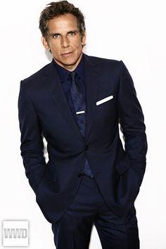 Ben Stiller in Z Zegna's wool suit, Mr Porter's Gucci shirt. Burberry Prorsum tie