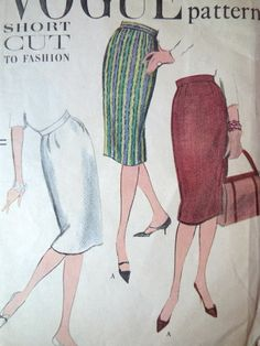 Vintage 1950s Vogue 9593 pencil skirt sewing pattern The skirt can be made with stitched darts or released ones, depending on the desired fit