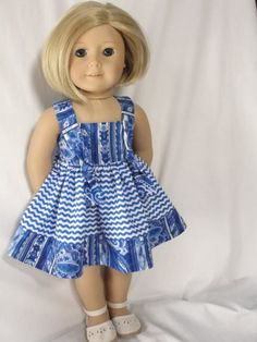 Blue Knot Dress - (45) Dresses - Doll Clothes by Jane Fulton