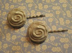 Vintage Inspired Cream Rose Button Hairpins by HairPINACHEbyTerry, $5.00