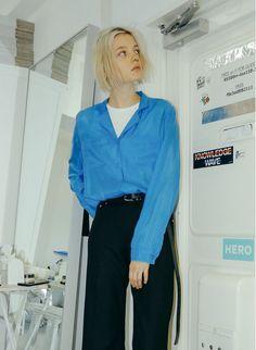 Vintage Silk Shirt / Blue | PERVERZE