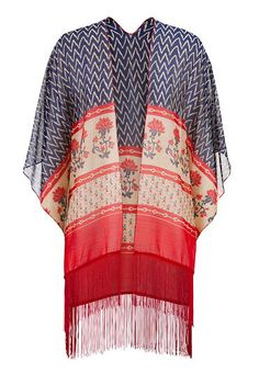 4th of July Weekend Outfit Ideas: scarf wrap with red fringe #maurices