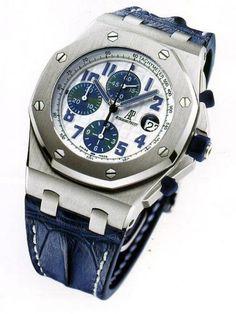 Audemars Piguet Royal Oak Offshore Blue Leather Strap Mens Watch $19,999.00