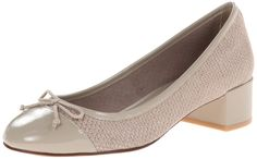 Cole Haan Women's Sarina Pump,Twine Snake Embossed Print/Twine Patent,6.5 B US. Block-heel pump featuring decorative bow and patent leather topline and toe. Padded sockliner. Grand.OS technology for comfort.