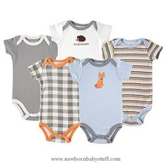 Baby Boy Clothes Luvable FriendsCotton Bodysuit, 5 Pack, Fox, 18-24 Months