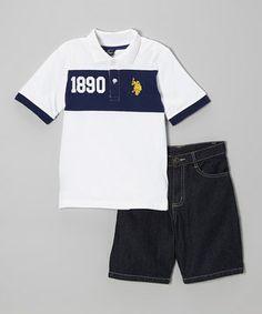 Navy & White Polo & Denim Shorts - Infant, Toddler & Boys by U.S. Polo Assn. #zulily #zulilyfinds
