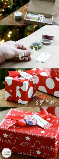 DIY Photo Gift Tags - such a good idea! Merry Christmas, Christmas Love, All Things Christmas, Christmas Holidays, Christmas Ideas, Holiday Crafts, Holiday Fun, Diy Banner, Diy Garden