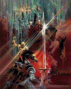 """""""Excalibur"""" (1981) film poster artwork by Bob Peak."""