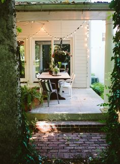 gorgeous patio with twinkle lights