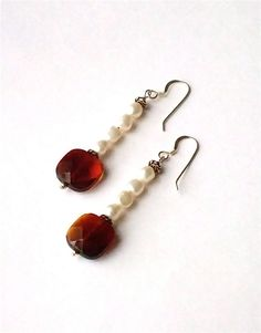 Dark+Red+Glass+Bead+Freshwater+White+Pearls+by+westlakebeads,+$24.00