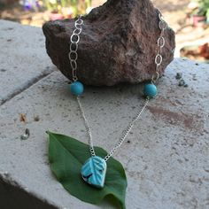 Turquoise Leaf Necklace  Sterling Silver by thenay on Etsy, $47.00