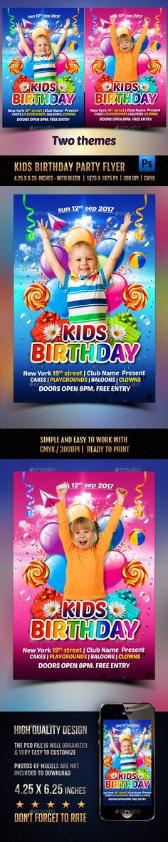 Kids Birthday Party Flyer  Party Events Print  And Flyer Template