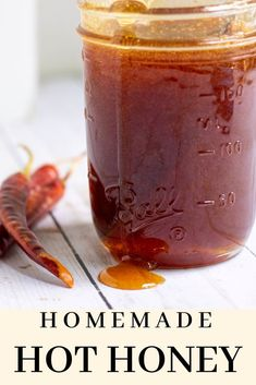 Homemade Hot Honey (infused with red chiles This easy homemade mike's hot honey recipe is infused with red chiles for a deliciously sweet and spicy condiment. Great on chicken wings, salmon, or even in cocktails! Hot Honey Recipe, Honey Recipes, Thai Recipes, Lunch Recipes, Dinner Recipes, Hot Pepper Recipes, Hot Sauce Recipes, Honey Sauce For Chicken, Sweet And Spicy Sauce