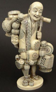 "20th Century Japanese Carved Ivory Figurine ""Basket : Lot 135"