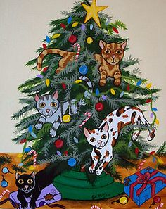 """""""Cats in the Christmas Tree"""" New Original Painting  Julie Ellison Art"""