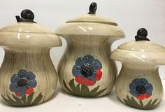 Vintage & Rare Mushroom Shaped 3 Ceramic Canisters Hand Painted Embossed Flower