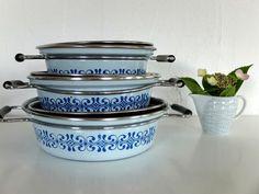Vintage Küche & Geschirr - Vintage Topf SET Emaille 50er ähnl. MES - ein Designerstück von das-fleissige-Faultierchen bei DaWanda