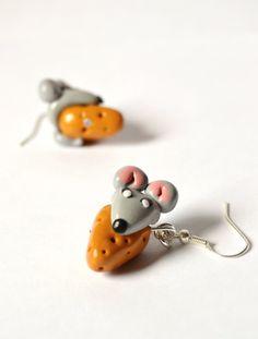 #earrings #polymerclay #mice #mouse #cheese #veracreations #kawaii