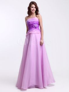 Modern Lilac Strapless Flower A-line Floor Length Organza Prom Dress - Get unbeatable discounts up to 70% Off at Milanoo using Coupon & Promo Codes
