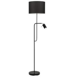 Black mother and child floor lamp Mother lamp: black fabric shade with B22 push bar switch Child lamp: chrome toggle switch and GU10 lampholder Mercator 6W LED GU10, 4000K, 410Lm globe included B22...
