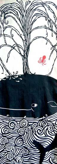 Japanese washcloth, Tenugui 鯨潮吹図 A Whale is blowing