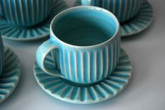 fluted porcelain cup and saucer  Naught Hill Pottery, Vermont