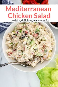Mediterranean Chicken Salad - Slender Kitchen - - The best Mediterranean inspired healthy chicken salad with black olives, feta cheese, cucumbers, roasted red peppers, and dill in a creamy Greek yogurt dressing. Easy and delicious. Slender Kitchen, Easy Mediterranean Diet Recipes, Mediterranean Dishes, Mediterranean Chicken Salad Recipe, Mediterranean Diet Breakfast, Chicken Salad Recipes, Healthy Chicken, Salad Chicken, Low Carb Chicken Salad