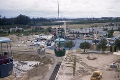Approaching the Tomorrowland Station on the Skyway,  construction of the Viewliner track can be seen below. Dinsneyland, ca. 1957 | 20 Disneyland020 via Flickr