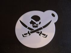 Unique bespoke new laser cut skull & sword cookie / face painting stencil