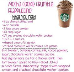 Homemade Mocha, Homemade Frappuccino, Frappe Recipe, Mocha Recipe, Secret Starbucks Drinks, Starbucks Menu, Starbucks Cookies, Coffee Drink Recipes, Coffee Drinks
