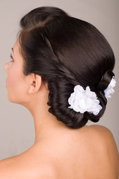 Brunette Wedding Chignon Hairstyle Decoration