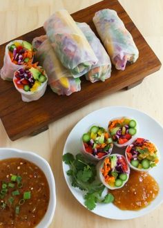 Rainbow Veggie Spring Rolls with Sweet & Sour Dipping Sauce. Sub maple syrup or agave for the honey