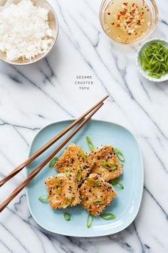 Sesame Crusted Tofu - A quick, easy, and healthy vegetarian dinner idea