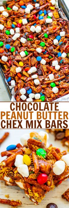 Chocolate Peanut Butter Chex Mix Bars - SO EASY, NO-BAKE, and ready in FIVE minutes! Chex cereal, pretzels, and M&Ms glued together with peanut butter and marshmallows! An IRRESISTIBLE salty-sweet combination! Chocolate Cereal, Chocolate Peanut Butter Fudge, Peanut Butter Recipes, Chocolate Peanuts, Chocolate Mix, Zucchini, Chex Mix, Rice Krispie Treats, Yummy Snacks