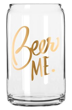 How cute is this can-shaped beer glass that's begging to be filled with its gold-gilded lettering?