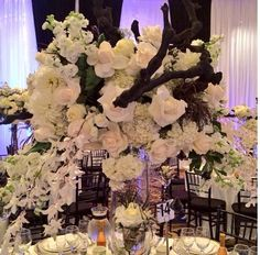 White floral with black rustic detail by Petals L.A.