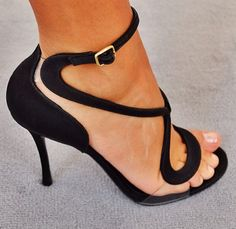 The coolest twist on black ankle strap heels. In love!!!