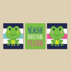 Frog Bathroom Decor Boy Girl Bathroom Wash By LovelyFaceDesigns, $29.00