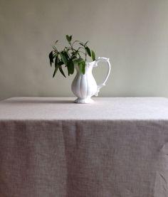 Linen Tablecloth, Light Brown Natural Linen Tablecloth, Melange Sand Brown  Linen Tablecloth, Rectangle